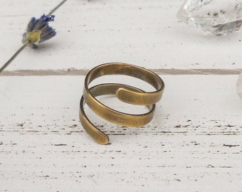 Adjustable spiral ring - antique bronze - bohemian boho bridesmaids gifts for her