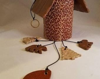 Handmade Pottery Wind Chime Earthtones,Bears,Trees
