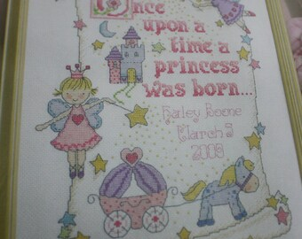 Bucilla Birth Record Counted Cross Stitch Kit WM45328 Once Upon A Time A Princess Was Born 10 x 13
