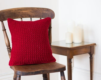 Red Chair Cushion Cover, Cozy Pillow, Couch Pillow, Settee Cushion, Hygge Decor, Country Pillow, Rustic Pillow, Housewarming Gift