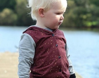 Burgundy Splash Button front Hoody, Kidswear, Baby Clothes, lined, JMW Kids, Autum jumper, Jersey, boys hoody, Unisex, hoody, button jumper