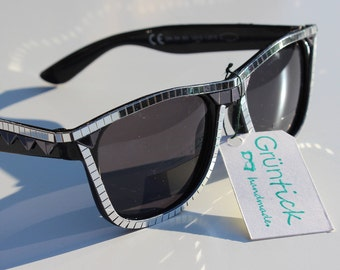 Bling Bling Glasses-sunglasses Wayfarer with mirror mosaic studded, sparkles and glitters, silver and black