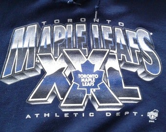 """Vintage 90's Toronto Maple Leafs """"XXL Athletic Dept."""" Hooded Sweatshirt Made in Canada XL"""