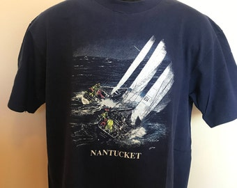 1987 Nantucket Sailing Shirt Vintage Tee 80s Yacht Race Week Nautical Boat Sailor Captin Cape Cod Lighthouse Figawi Massachusetts USA XL