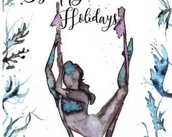 Aerial dancer printable Holidays Card in watercolors. 1JPEG Size 5,8x8,3 in. Digital file ready to be printed in high resolution 300dpi.