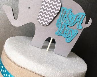 Elephant Cake Topper, Elephant Centerpiece, Elephant Baby Shower, Elephant Diaper Cake, Baby Shower, Elephant Decorations, It's a Boy, Blue