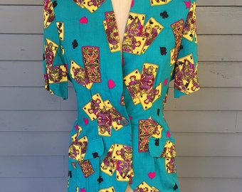 90's Unique Short Sleeve Teal and Yellow Playing Card Rayon Blazer with Patch Pockets Size Small-Medium