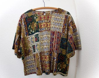 80s vintage boho patch shirt / quilt print crop top / oriental paisley tribal / Oversize patch top blouse / Shannon Marie Hawaii Made in USA