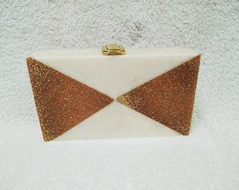 Fabulous Half White&Glitter Acrylic Clutch/Party Clutch/Gift Clutch/Wedding Clutch