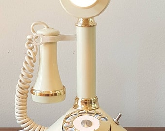 Vintage Candlestick Phone Lamp (White)