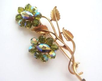Aurora Borealis Olive Vitral Flower Pin Brooch