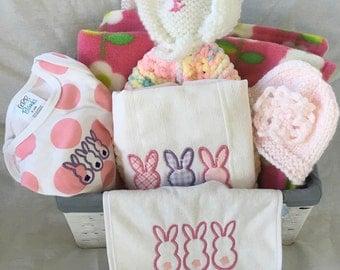 Baby girl gift basket, baby gift basket, baby girl shower gift, baby shower gift, baby clothing, girl clothing,  FREE SHIPPING