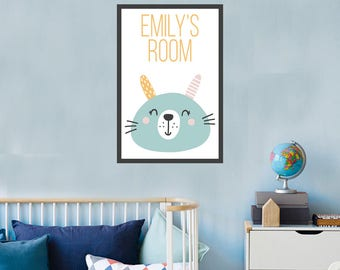 Personalized Bunny Poster for Child's Room