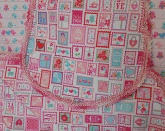 Valentines baby birds flannel receiving blanket