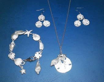 Pewter Shell, Starfish, Sanddollar Set- Bracelet, Necklace, and Earrings