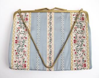 Vintage Tapestry Bag, Embroidered Purse, Needlepoint Handbag, Floral Evening Bag