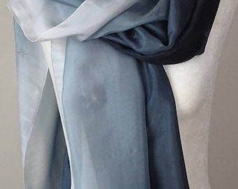 Hand painted grey silk scarf. Handpainted, handmade long silk scarf in Grey ombre.Shades of Gray. Approx 21 X 73 inches.