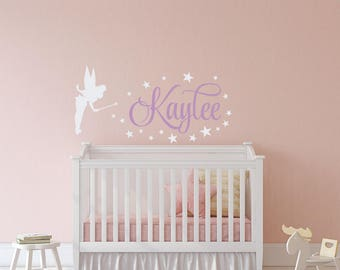Personalized Tinkerbell Name Wall Decals   Fairy Wall Decal   Baby Girl  Wall Decal   Name Part 42