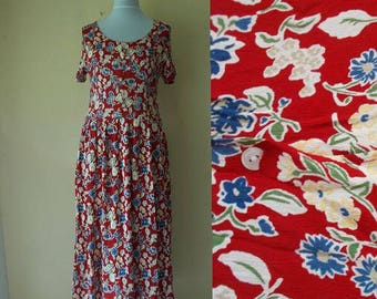 Vintage Floral dress. Vintage red dress. 80s dress, Long floral dress, Red floral dress, Vintage dress, Button down dress, Size M