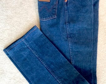 """Women's Jeans - WRANGLER High Waisted 7 x 36  13MWZG, Western Cowgirl, Waist= 28""""  Vintage 70s 80s, Mom Jean"""