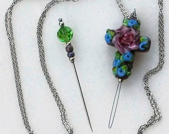 "Needle Threader - Necklace - 35"" - Laying Tool - Stitch Remover - Lampwork Cross - for cross stitch, quilting, needlework, etc."