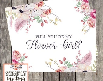 Will You Be My Flower Girl, Card For Flower Girl, Flower Girl Proposal Card, Flower Girl Request Card, Wedding Card Flower Girl, Pink Floral
