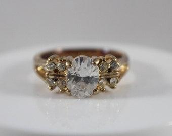 Gold Tone Cz Stone Ring Size 8