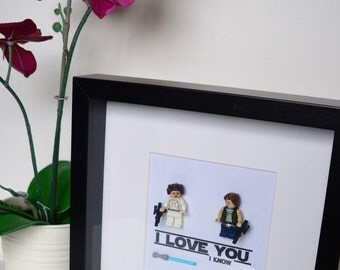 Shadow Box Frame//Star Wars//I Love You I Know//Han Solo//Princess Leia//Minifigures//Geek//Love//Couple//Lego//Anniversary//Engagement