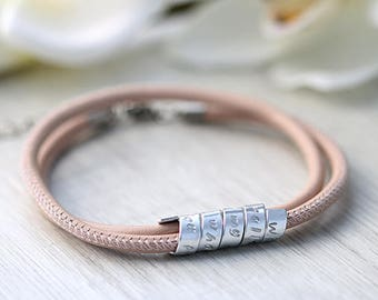 Birthday gift for her - Leather bracelet - Personalized jewelry - Women gift - Hand Stamped Secret message - Swarovski Anniversary bracelet