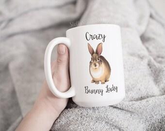 CRAZY BUNNY LADY Coffee Mug, Crazy Bunny Mama, Crazy Bunny Papa Coffee Mug, Vector Bunny, Brown Bunny, Bunny Mug, Cute Mug, Funny Mug