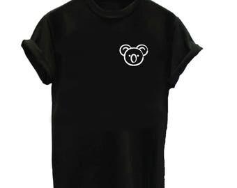Koala Shirt - Animal Shirt - Unisex or Womans Shirt Vneck Option - Zoo Koala Shirts Cute Gift Bear Australia Mammal Herbivore Koala Bear