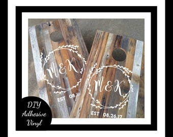 DIY Wedding Decal Set, Monogram Cornhole Decals Set of Two Cornhole Board Game Decals - Wedding DIY Decals - Wedding Decor Decals Vinyl