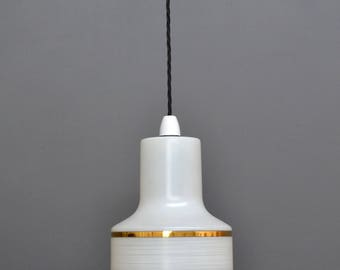 Vintage Mid Century Retro White Milk Glass Hanging Pendant Ceiling Light Shade