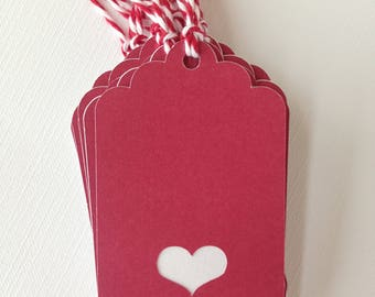 Burgundy heart gift tags/party favor tags