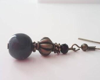 Earrings Bronze - Black 010