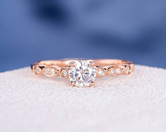 Art Deco Moissanite Engagement Ring Rose Gold 5mm Antique Wedding Diamond Half Eternity Solitaire Unique Retro Anniversary Promise Women