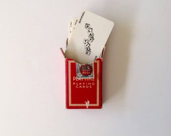 Miniature Playtime Playing Cards - Vintage - US Playing Card Company -  Red