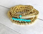 2mm, 3mm, 4mm, 5mm, 6mm or 8mm Gold Bead Ball Bracelet, Shiny Gold Metal Bracelet, Stretch Stack Bracelets, Women or Men, Gold Bracelets