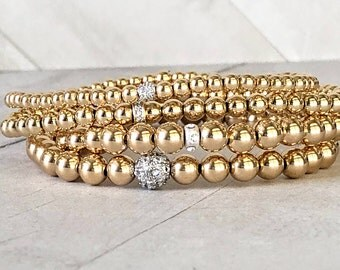 Gold Filled Bead Ball Bracelets, 3mm, 4mm, 5mm 14K Gold Filled Jewelry, .925 Silver Bracelets, Stacking Stretch Bracelets, for men and women