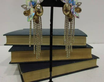 Absolutely Fabulous Rhinestone & Aurora Borealis Clip-On Statement Earrings
