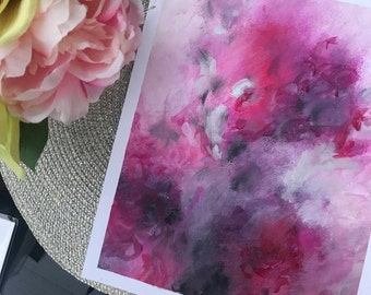 Beautiful war - original art, abstract painting, colourful artwork, pink art, small painting