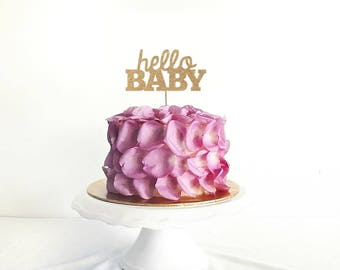 Hello Baby Cake Topper for Baby Shower, Gender Reveal Party, Birthday Party - Gold Glitter Cupcake and Cake Topper