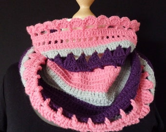 Snood, tube scarf, scarf, crochet, pink purple and grey