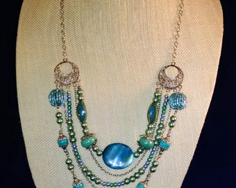 Shades of blue layered necklace