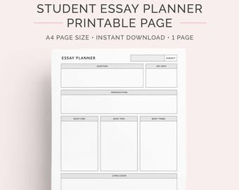 Essay Planner for Students | College, University and High school | A4 | Instant Download