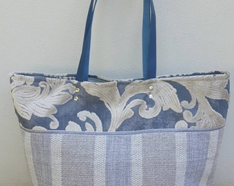 CANZIANI grey canvas and blue brocade bag