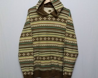 Vintage Local motion Hoodies Aztec Pattern Fullprint all over Size fits to L-XL
