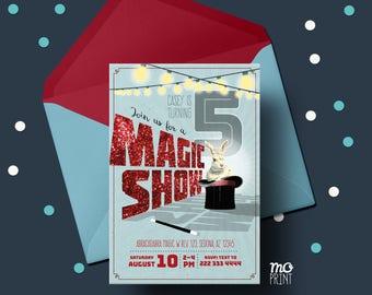 Magic Show Birthday Invitation - Magic invitation - glitter invitation - 5x7 invite - printable digital file