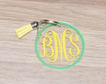Acrylic Keychain Monogram - Acrylic Keychain - Monogram Keychain - Tassel Keychain Monogram - Acrylic Keychain Personalized - Keychains