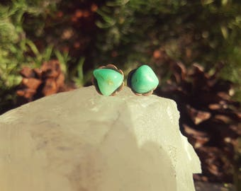 SEAFOAM - Raw Chrysoprase Gemstone Earrings, Chrysoprase Stone Studs, Heart Chakra, Self Love, Gifts for Gem Lovers, Mother's Day Gift Idea